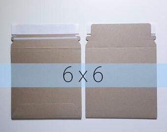 5 6x6 Inch Rigid Stay Flat Kraft Brown Rigid Mailers Self Sealing Photo Stickers Decals Shipping Cardboard Envelope Bag