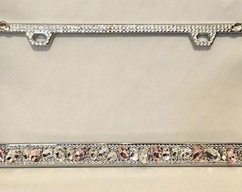 Ultraluxx Pink Swarovski crystal bling license plate frame, gemstone license plate frame, birthday gift