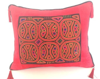 ON HOLD Art Pillow vintage Mola Cuna Indian Panama red black gold contemporary suede silk tassels Morocco Moroccan leather tribal