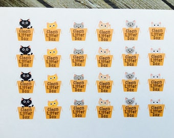 Clean Cat Litter Reminder Planner Stickers - Cat Functional Planner - Pet Planner Stickers - Pet Care Stickers