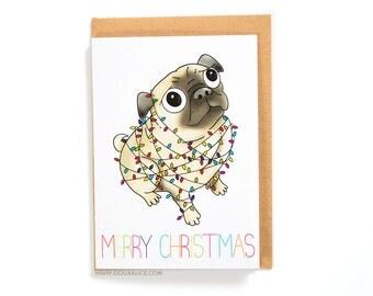 Pug Christmas Card, christmas cards, dog, greetings cards holiday happy holidays merry christmas xmas pug christmas lights xmas cards