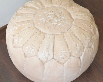 "NATURAL  20""x13"" // Moroccan pouf ottoman // round embroidery L"