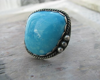 Large turquoise statement ring, natural sleeping beauty turquoise, hand forged sterling, bohemian jewelry, luxe boho, boho cowgirl,southwest