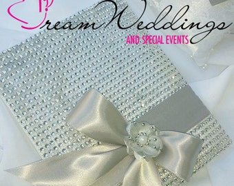 Silver Rhinestone Wedding Guest Book