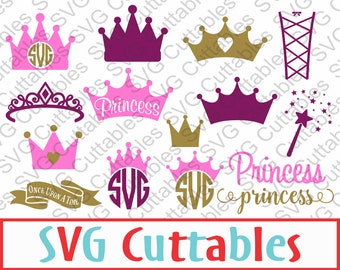 Princess Crown SVG, Princess Monogram, Wand, DXF, EPS, Vector, digital cutting file for cutting machines