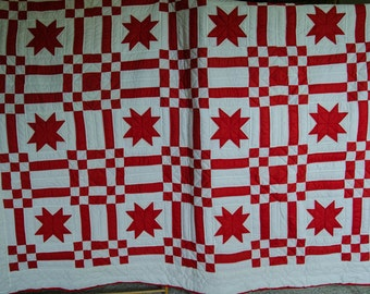 Hand quilted 84 x 102 red star on white bed quilt - free shipping