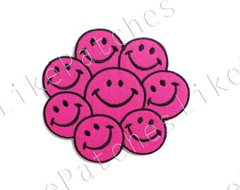 Pink Smiley Faces New Sew / Iron On Patch Embroidered Applique Size 8.8cm.x8cm.