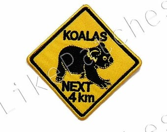 Sew / Iron On Patch Yellow Plate Australia Black Koalas Next 4 Km Embroidered Applique Size 7.3cmx7.3cm.