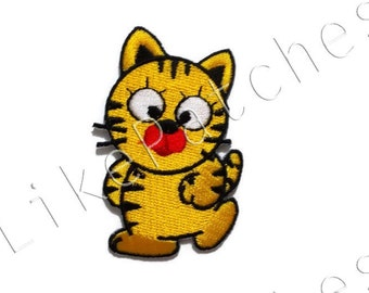 Fat Cat - Pet - Animal Print New Sew / Iron On Patch Embroidered Applique Size 4.5cm.x6.9cm.