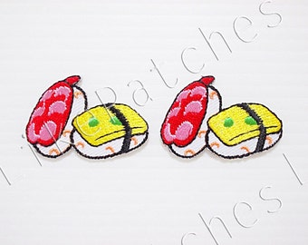 Set 2pcs. Little Japanese Sushi Food New Sew / Iron On Patch Embroidered Applique Size 3.8cm.x2.6cm.