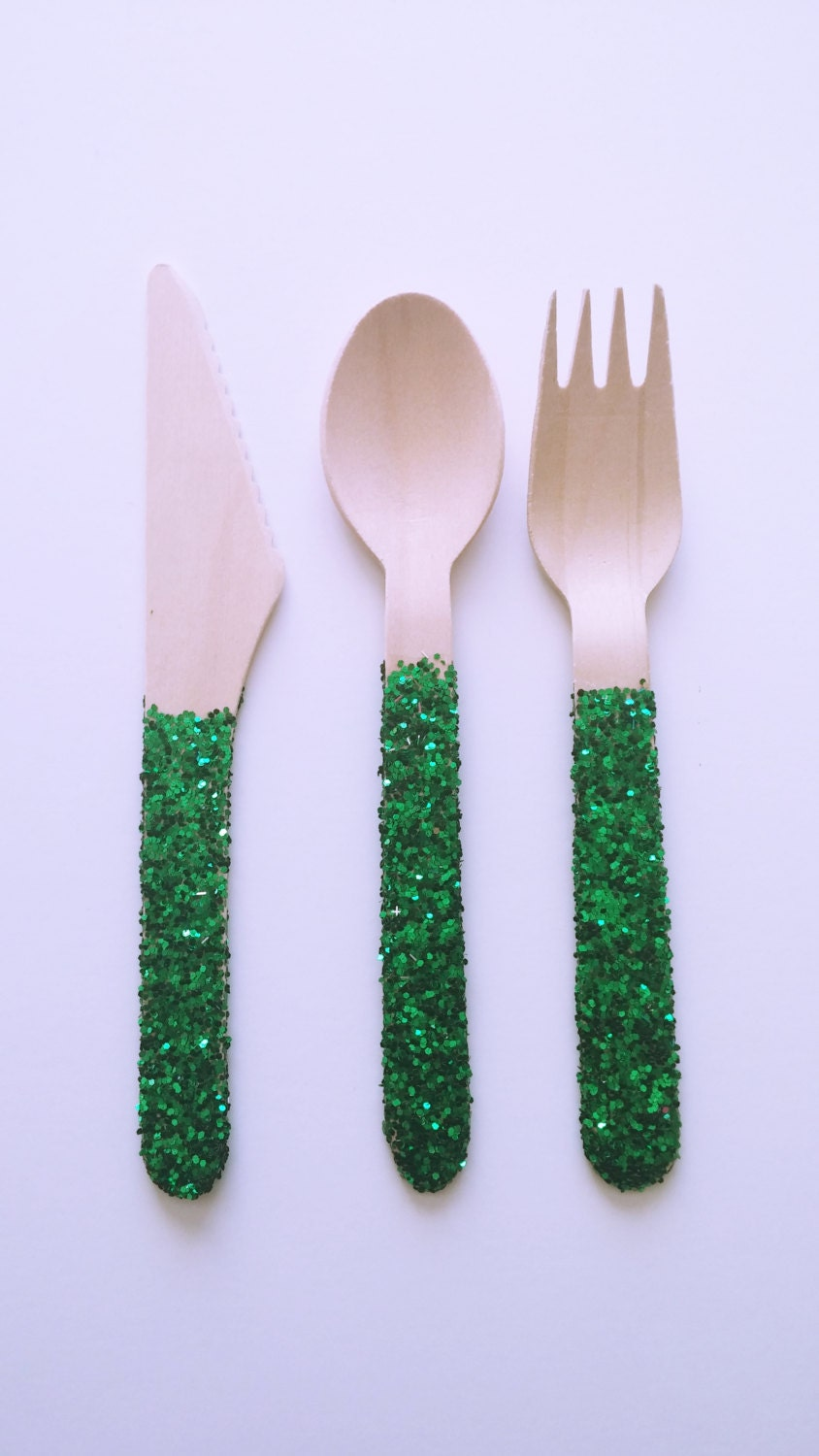 Green Glitter Wooden Fork Knife Spoon Sets Wooden