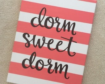 Dorm sweet dorm canvas wall art for college