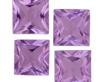 Pink Amethyst Square Cut Set of 4 Loose Gemstones 1A Quality 6mm TGW 3.40 cts.