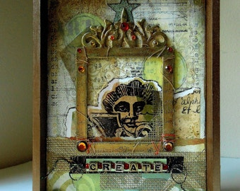 "Create, Mixed Media Collage, 5"" x 7"" Canvas, Tan and Cream Colors"