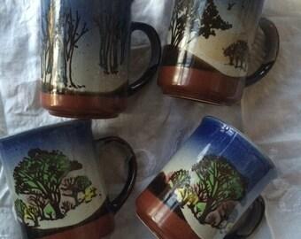 Vintage 80s hand painted coffee mugs