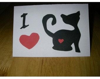 I Love Cats Greeting Cards Handmade.