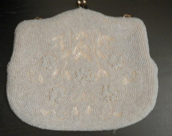 White Seed Beaded Purse