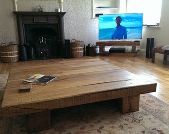 Solid oak 6 beam coffee table.