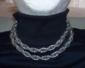 Vintage Aluminum Chain Necklace  - 1940-Vintage -Two Strand- Steampunk