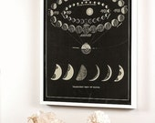 Moon Art with Moon Phases and Venus Transit Astronomy Art Vintage Print