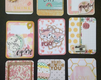 Gorgeous set of PASTEL handmade project life cards-- 3x4-- yellow, pink, and gold!