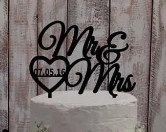 Wedding Cake Topper - Mr & Mrs Heart /  personalized / individualised / acrylic / wood / wedding