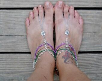 Lilac Forest Multi-Chain Barefoot Sandals// Slave Anklet Set// Boho Anklets