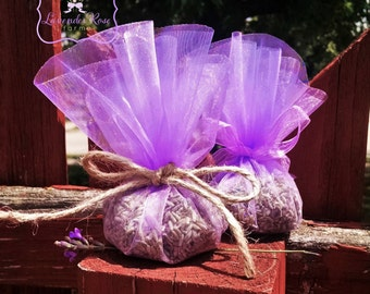 Lavender Sachet Circle tied with a twine  1/3 cup of Lavender, lavender-chamomile, herbal potpourri, lavender-rose.  Wedding Shower Favors.