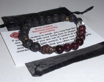 ROOT CHAKRA- GARNET Gemstone Buddha Bracelet ,Healing Bracelet