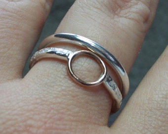 Mixed Metal Stacking Rings Set of Two, Sterling Silver and Bronze Rings