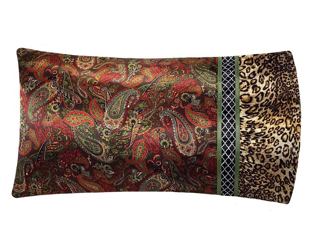 Brown Paisley Satin Pillowcase Paisley Pillow Case