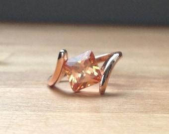 Princess cut orangle crystal rose gold ring