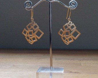 Abstract irregular matte gold filigree earrings