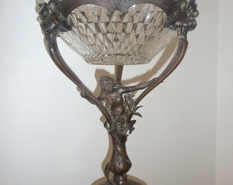 Antique figural Art Nouveau table center fruit dish circa 1900-1910