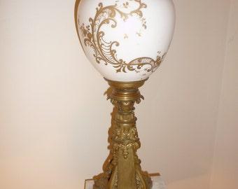 Antique Bronze and porcelain banquet oil lamp base – circa 1870-1880