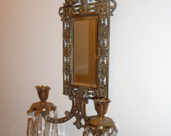 Antique bronze wall mirror with girandole candle holders and dolphins - circa 1870