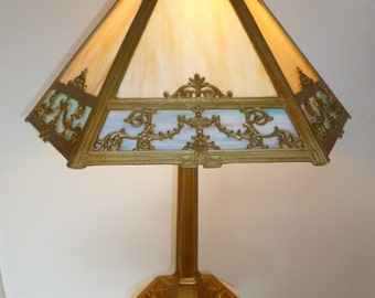 Antique bronze and slag glass Art Nouveau table lamp circa 1910