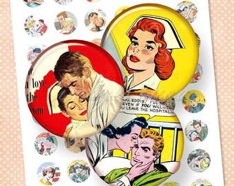 "Nurses Romance 1"" bottle cap images 1 inch circles Digital Collage Sheet cabochon download printable 30mm 25mm 1.25"" 1.5"" round art pendants"