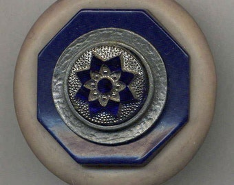 Vintage Button Pin, Blue and Gray