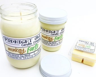 Monkey Farts Mason Jar Candle Candle 8oz or 16oz - scented candle - Midnight Owl Candle Co.