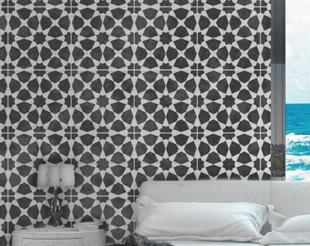 AMIRA TILE Stencil - Moroccan Mosaic Tile Furniture Floor Wall Tile Craft Stencil - AM002