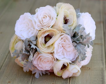 Silk Ivory and Cream Ranunculus and Roses - Winter Wedding Bouquet, Bride Bouquet, Bridesmaid Bouquet