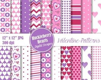 80% OFF SALE Valentine Paper, Valentine's Day Paper, Valentine Scrapbook Paper, Digital Heart Paper, Pink, Purple