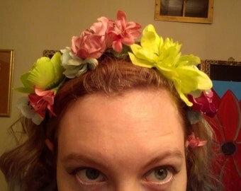 Lime Green and Pink Flower Crown