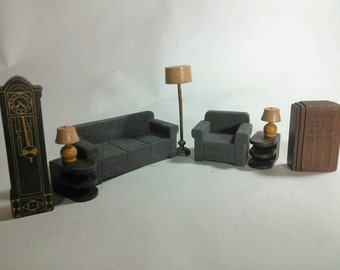 Vintage Doll House Furniture, Strombecker, 9 Piece Living Room Set