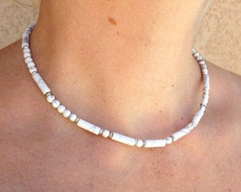 White Howlite Necklace/Choker/beaded necklace