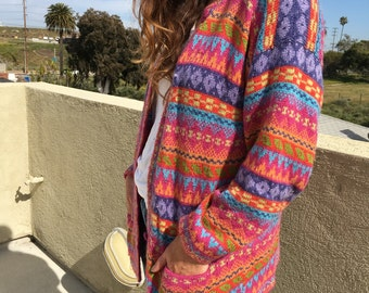 SALE! 1990s Rainbow Stripe Knit Cardigan ~ Sz Large