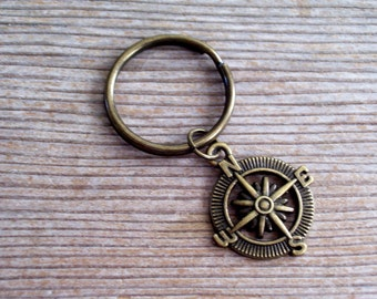 Brass Compass Keychain, Antiqued Brass Compass Key Ring, Traveller Key Chain, Bronze Key Holder, Nautical Keychain, Gift For Him