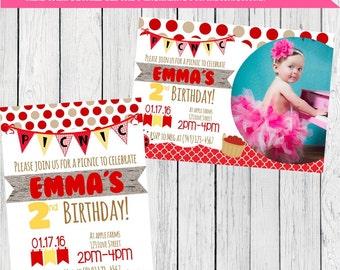 Picnic Personalized Birthday invitation ***Digital File*** Any Birthday! (Picnic-01)