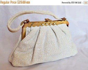 ON SALE 1950s Vintage Lumured Beaded Purse, white beads, gold hardware, elegant, chic